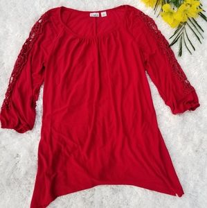 Cato Red Crochet Sleeve Tunic Top